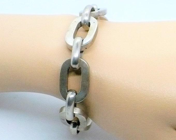Oval Rolo 900 Silver Chain Link Bracelet Vintage Jewelry