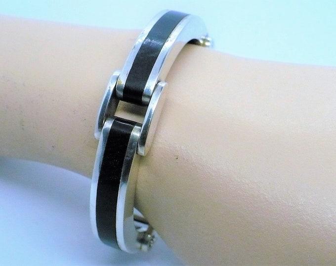 Royal Ebony Wood Inlay Silver Bangle Bracelet Vintage Jewelry