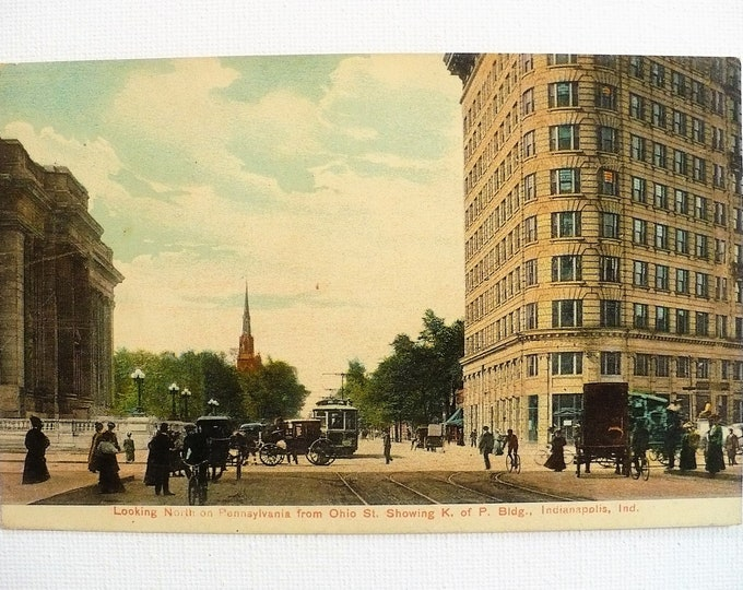 1907 Horse Carriage Indianapolis Indiana Vintage Postcard Unposted