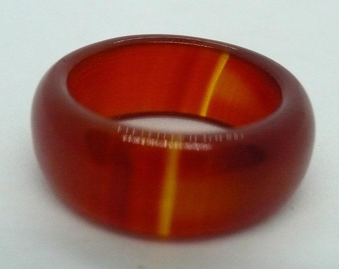 sz 7 1/2 Carnelian Stone Gemstone Stackable Band Ring