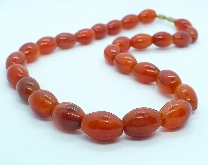 Carnelian Gemstone Bead Necklace 17 inch