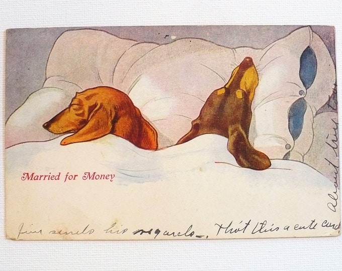 1909 Married For Money Ind Peoria RPO Vintage Comic Postcard Posted