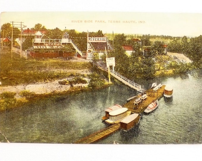 1909 River Side Park Terre Haute Indiana Vintage Postcard Posted