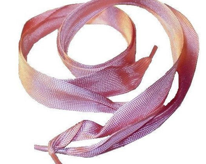 "1920's Vintage Tearose Pink Ribbon Shoelaces 18"""