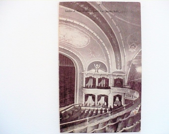 1911 Interior New Dryfus Theatre La Fayette Indiana Vintage Postcard Posted