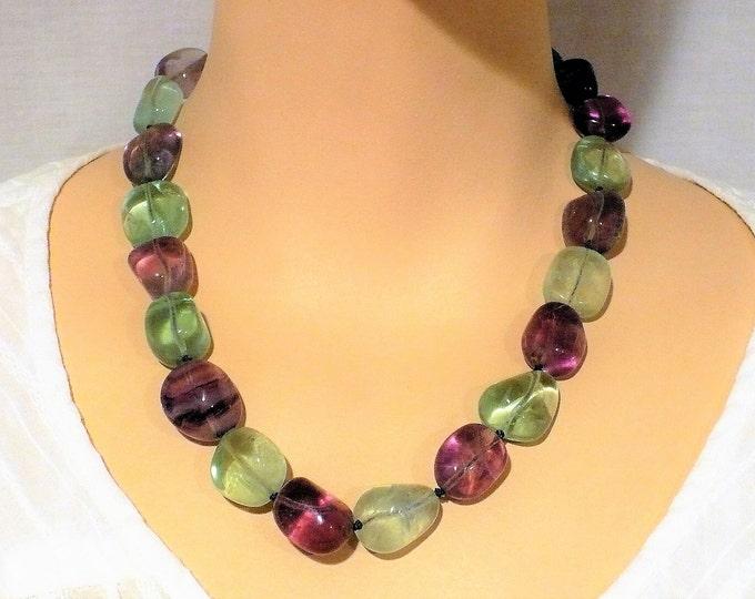 Fluorite Green Purple Gemstone Bead Necklace 18 inch
