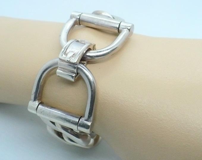 Sturdy Italian Silver Stirrup Cuban Chain Link Bracelet Vintage Equestrian Jewelry