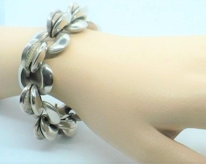 Mid-century Modern Silver Statement Bracelet