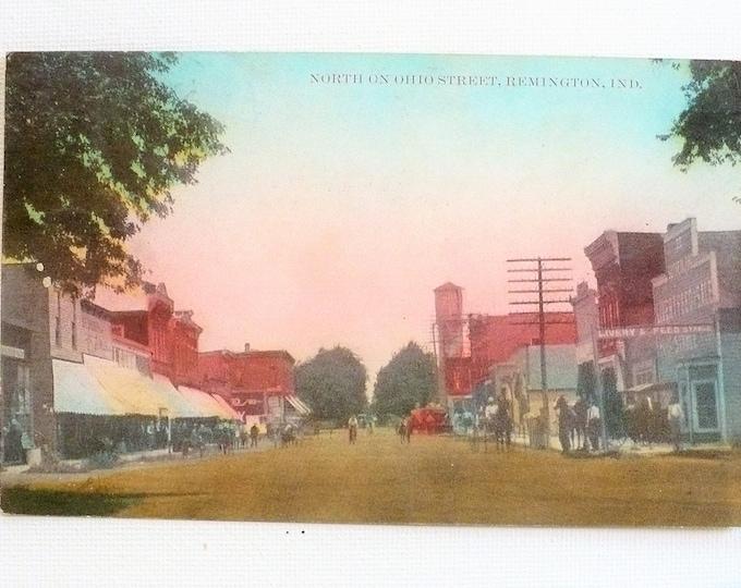 1909 Remington Indiana North Ohio Street Vintage Postcard Posted