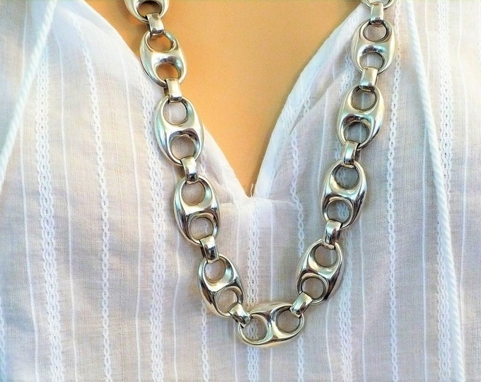 17mm Puff Mariner 900 Silver Link Chain Necklace 30 inch