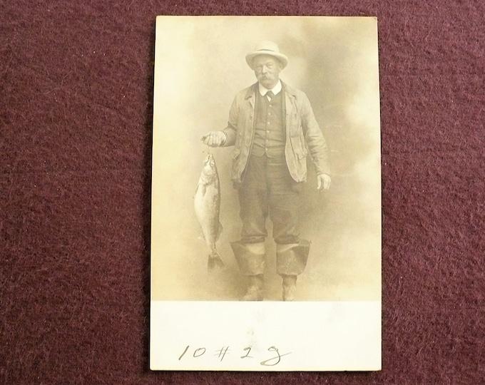 1907 Antique Fisherman Fish Photo Vintage Postcard RPPC