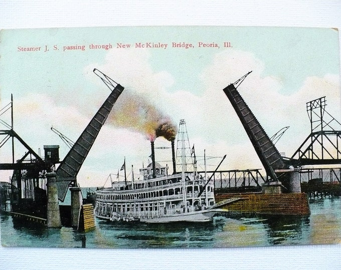 1909 Steamboat JS Steamer McKinley Draw Bridge Peoria Illinois River Vintage Postcard Posted