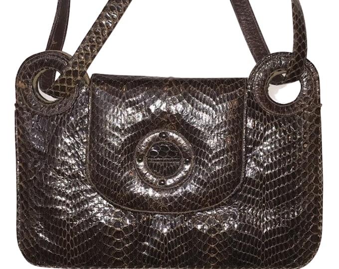Luxury Python Purse 1960's Vintage Versatile Top Handle Shoulder Handbag
