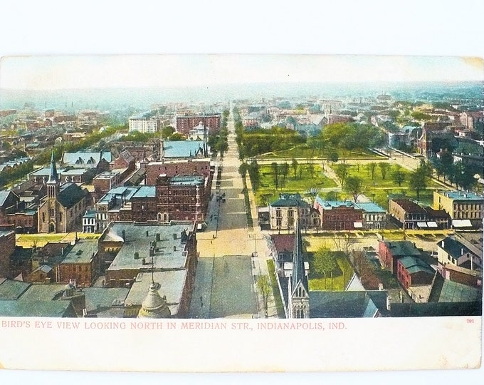 1907 Aerial Bird's Eye View Indianapolis Indiana Vintage Postcard Posted