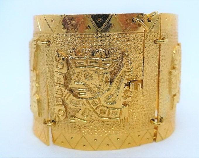 Vermeil Gold Mayan Panel Bracelet Vintage Jewelry