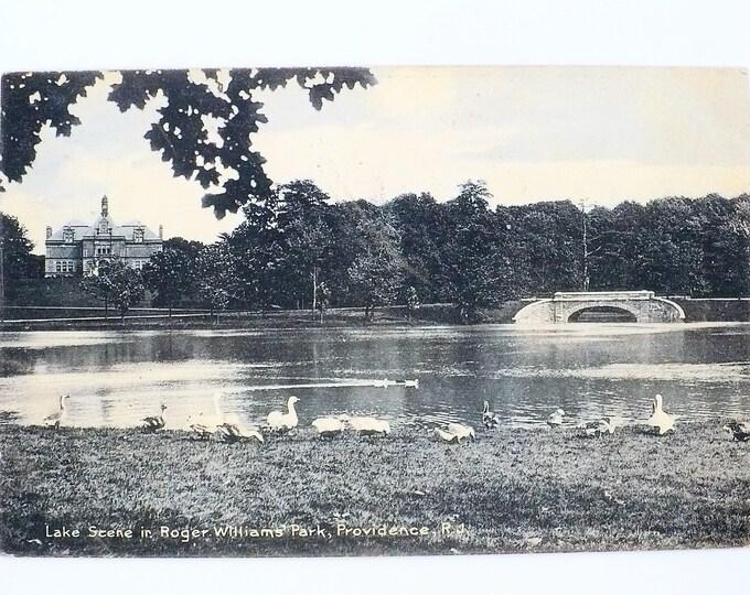 1907 Lake Scene in Roger Williams Park Providence Rhode Island Vintage Postcard Posted