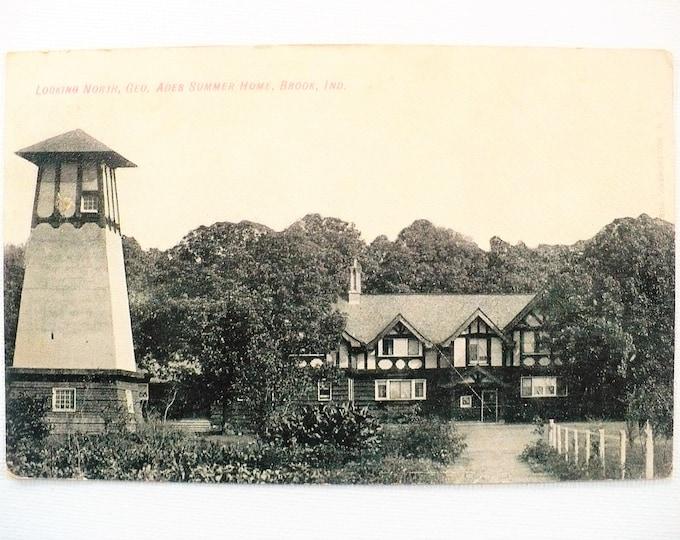 1909 George Ades Tudor Revival Summer Home Brook Indiana Vintage Postcard Posted