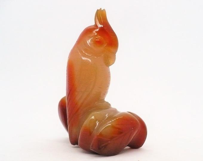 Vintage 1970's Chinese Import Carved Shoushan Stone Bird Figurine