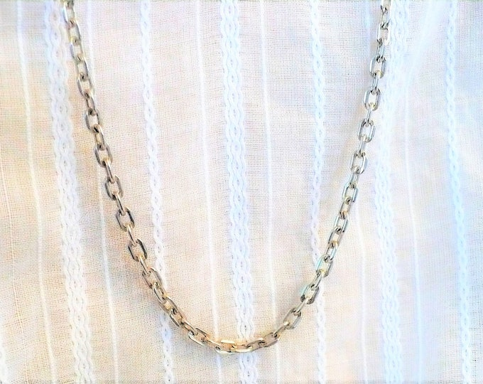 3.6mm Vintage Silver Rectangle Rolo Chain Necklace 36 inch