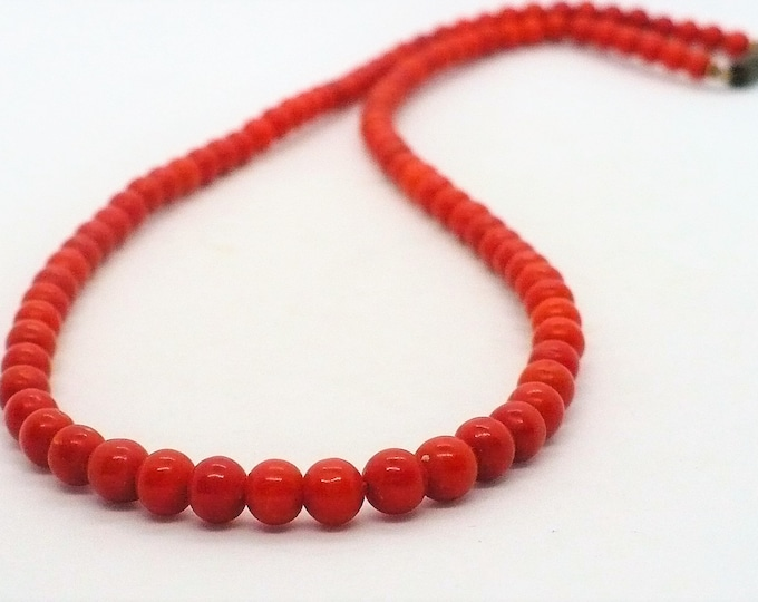 Enhanced Red Coral Bead Necklace 18 inch
