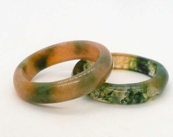 sz 6 1/2 Stone Agate Gemstone Stackable Band Ring Set of Two