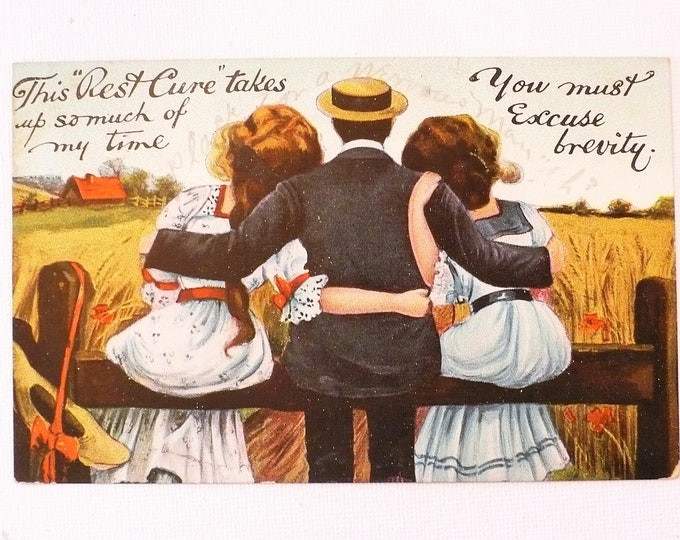 """1909 Naughty This """"Rest Cure"""" takes up so much time Vintage Comic Postcard Posted"""
