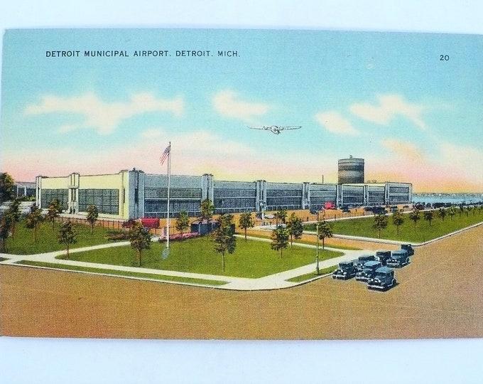 1930s Airport Detroit Michigan Vintage Linen Postcard Unposted
