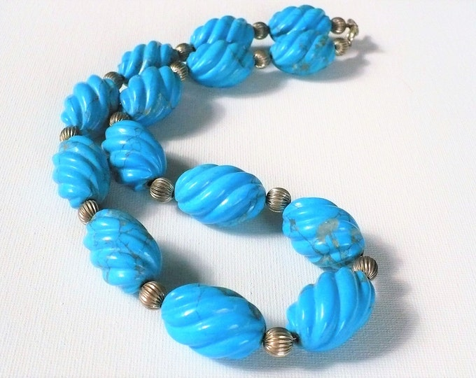 Turquoise Howlite Sterling Gemstone Bead Necklace 22 inch