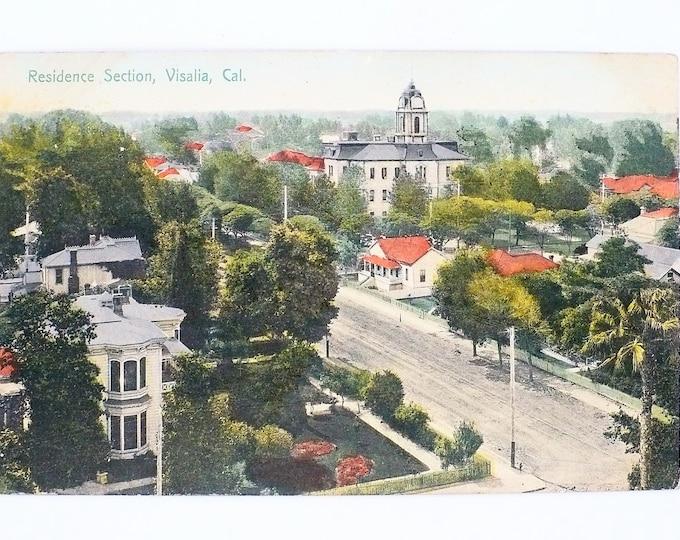 1908 Homes Residence Section Visalia California Vintage Postcard