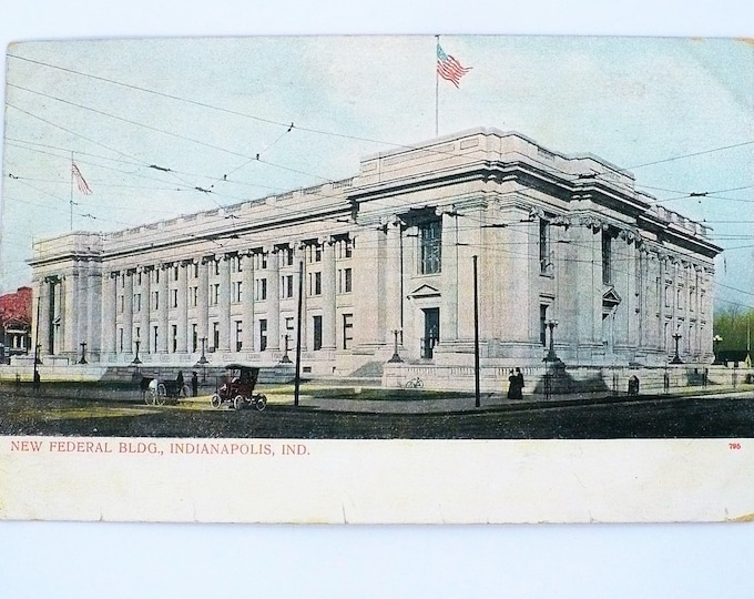 1907 Automobile New Federal Building Indianapolis Indiana Vintage Postcard Posted