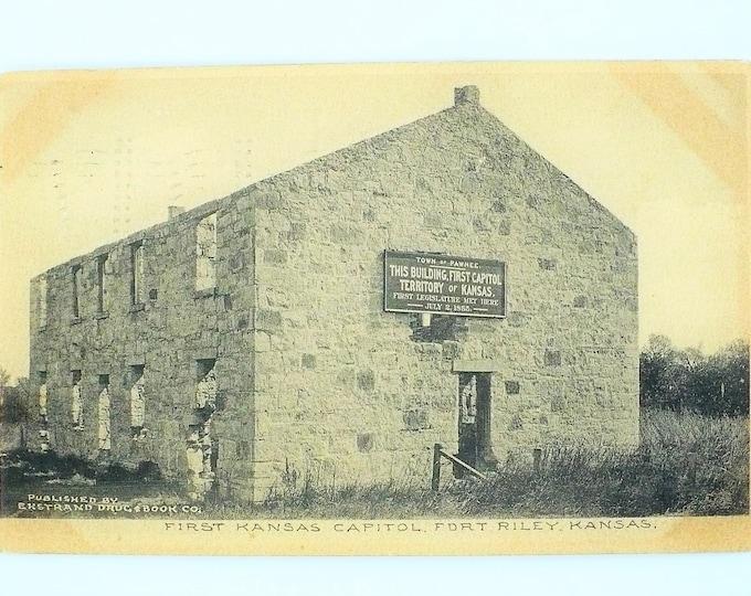 1907 First Kansas Capital Fort Riley Vintage Postcard Posted