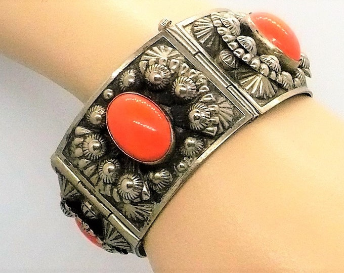 Mid Century Coral Silver Alloy Repoussé Vintage Panel Bracelet