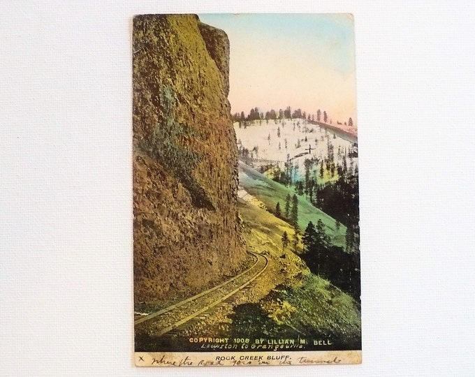 1909 Rock Creek Bluff Train Track Lewiston Idaho Postcard Posted