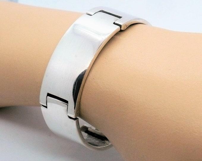 Polished Sterling Silver Bangle Statement Bracelet Industria Argentina