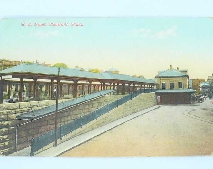 1907 B&M Railroad Train Depot Haverhill Mass Vintage Postcard Posted