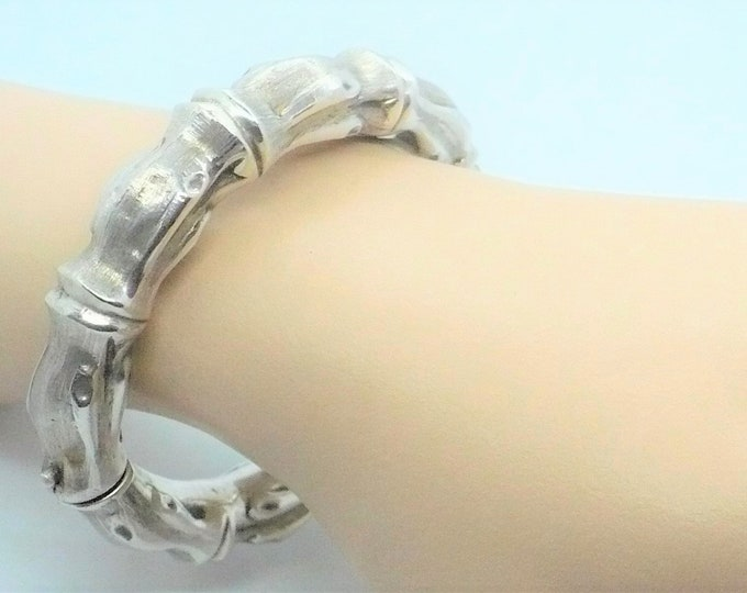 Bamboo Hinged Silver Bangle Bracelet Industria Argentina