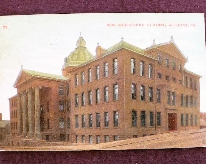 1908 New High School Building Altoona Pennsylvania Charles Morrison Robinson Vintage Postcard Posted