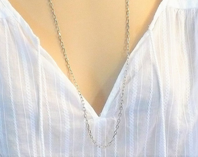 3mm Sterling Silver Rectangle Rolo Chain Necklace 30 inch