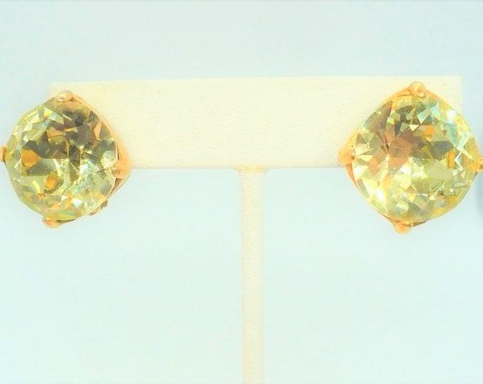 Big 80's Bling Rhinestone Vintage Clip On Earrings - Light Green