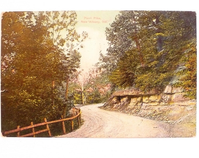 1909 Paoli Pike New Albany Indiana Vintage Postcard Posted