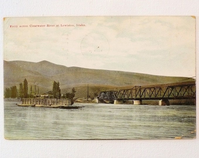 1909 Railroad Bridge Ferry Across Clearwater River at Lewiston Idaho Vintage Postcard Posted