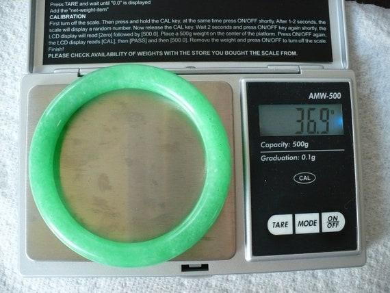 Vintage Green Jade Bangle Bracelet - image 2