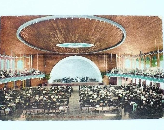 1907 Long Beach California Waterfront Municipal Auditorium #1 Interior Vintage Postcard  Posted