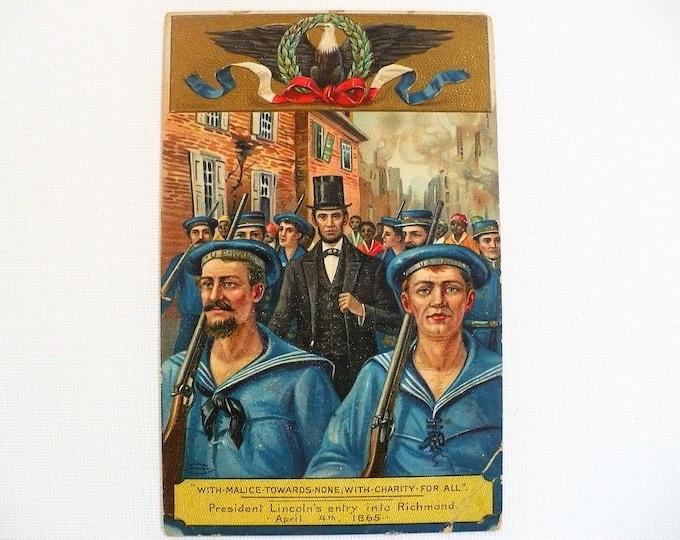 1912 Civil War Lincoln Richmond Virginia Vintage Postcard Posted