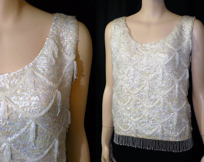 Vintage Beaded Shimmy White Shell Top Blouse