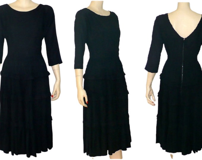 1950's Vintage Black Ruffled All Occasion Dress