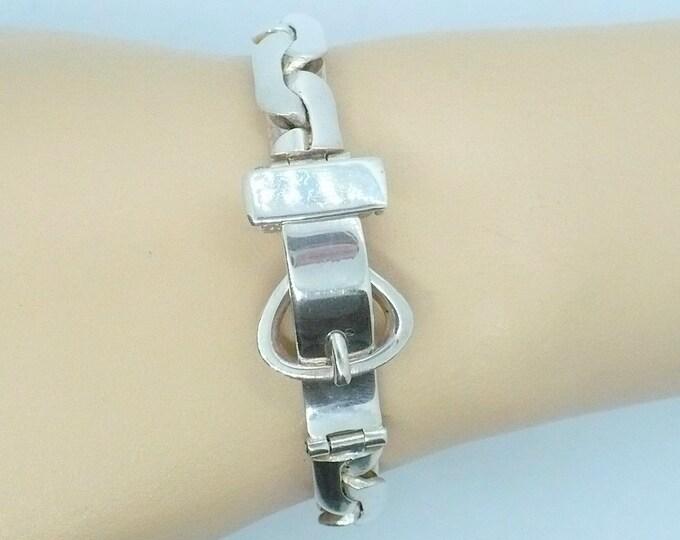 Industria Argentina Sterling Silver Buckle Bracelet Vintage Serpentine Chain Link