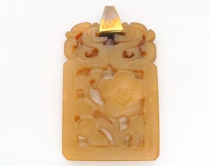 Carved Plum Blossom Shoushan Stone Amulet Pendant Vintage Chinese Import Jewelry