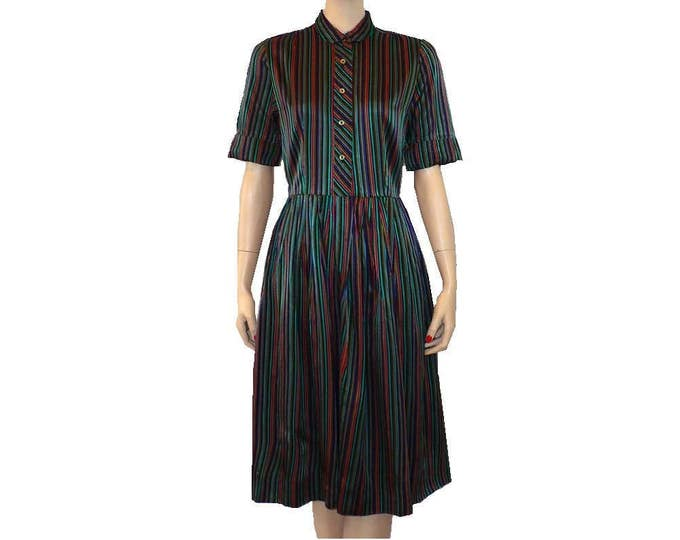 1950's Vintage Striped Satin Shirtwaist Day Dress