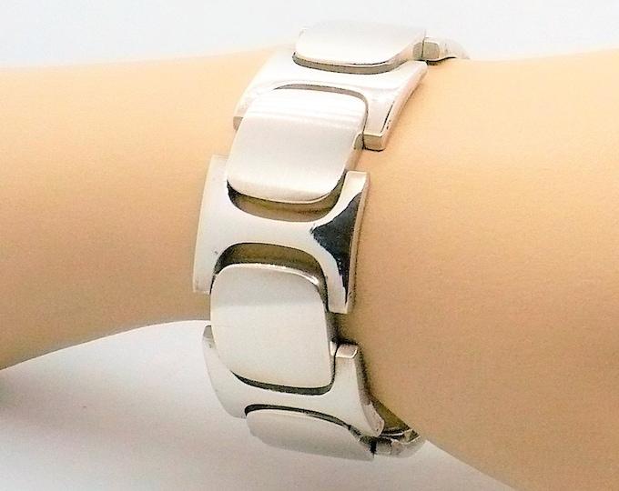 Mid-century Modern Industria Argentine Sterling Silver Link Bracelet Vintage Jewelry
